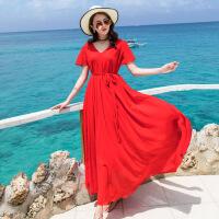 海边度假沙滩裙女夏2017新款连衣裙泰国长裙2018巴厘岛海滩裙显瘦