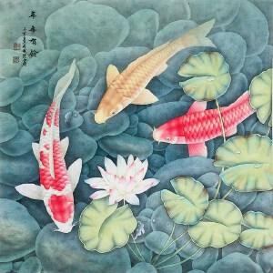 中国书画家协会常务理事 欧阳国德《年年有余》DYP121