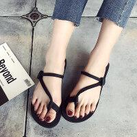 新款凉鞋女士人字拖夏平底凉拖沙滩鞋外穿厚底拖鞋韩版潮