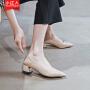 【活动中】小红人两穿单鞋女2019夏款中跟百搭浅口奶奶鞋女粗跟尖头一脚蹬潮 PU