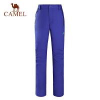 camel骆驼户外冲锋裤 秋冬防水透湿拼层保暖女款登山长裤