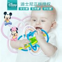【新品】迪士尼宝宝牙胶磨牙棒新生儿手摇铃早教婴儿 可水煮 曼哈顿手抓球