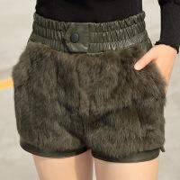 小个子女装显高秋冬新款PU皮女真兔毛皮草拼接休闲裤子潮