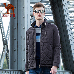 骆驼男装 2017年冬季新款立领无弹商务休闲拉链纯色男青年棉衣