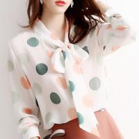 【活动速抢】超美领巾款衬衫牛油果法国配色醋酸雪纺长袖衬衣女