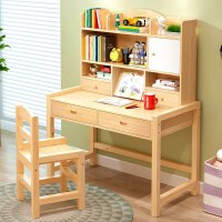 儿童实木学习桌家用写字台桌椅套装简约男孩女孩书桌小学生课桌椅