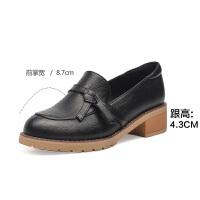 19珂卡芙新款【气质蝴蝶结】时尚文艺乐福鞋温柔粗跟舒适女单鞋
