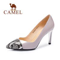 Camel/骆驼女鞋 时尚优雅 牛漆皮蟒蛇纹牛皮尖头高跟女单鞋