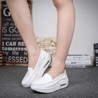春秋厚底女鞋护士鞋气垫白色摇摇鞋女单鞋坡跟松糕旅游鞋黑色 9001/白色