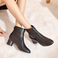 【经典爆款】19年秋冬时尚增高粗跟方头时装靴