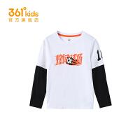 【折后叠券预估价:54】361度童装男童长袖针织衫2021春季新款T恤中大童儿童上衣
