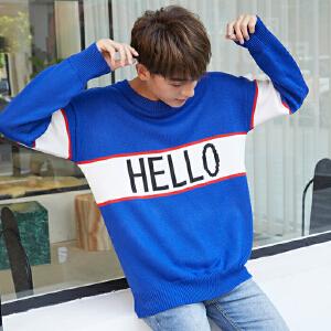 【超值爆款】圆领秋冬季韩版宽松男装新款毛衣青年字母提花长袖套头针织衫上衣