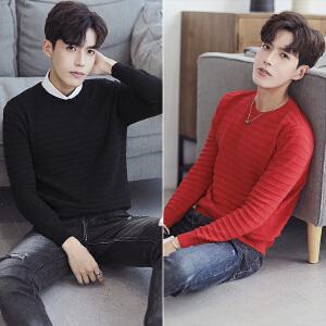 【限量抢购,好质量】秋冬季圆领毛衣男韩版男士针织衫潮流个性学生线衣外套