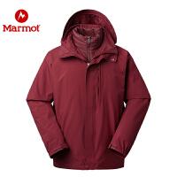 Marmot/土拨鼠秋冬款户外男士拒水透气羽绒内胆三合一冲锋衣