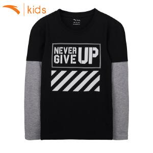 安踏男童T恤长袖2017春秋新款假两件套儿童卫衣男孩上衣35738432