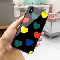 黑底彩色爱心苹果6手机壳iphone8plus日韩新款xs max玻璃7网红同款6s简约x个性创意6plus全包8潮款