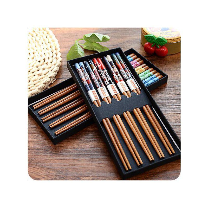 日式和风竹木筷子竹筷 礼盒便携餐具套装5双 满68元包邮