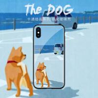 海边小柴犬的背影苹果6plus手机壳xr可爱卡通7plus简约iphone8玻璃x个性创意8p全包边7时尚保护套xs