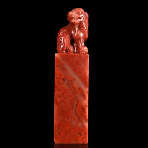 手工雕刻《鸡血红瑞兽正方章》寿山石取巧全手工精雕寓意吉祥