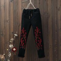 复古民族风刺绣加绒加厚牛仔裤修身显瘦小脚裤女式冬装休闲长裤子 黑色