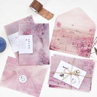 樱花境小清新DIY硫酸纸信封简约手工文艺 浪漫礼物贺卡信纸收纳袋