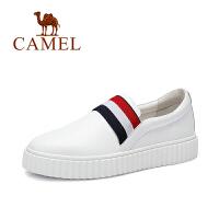 Camel/骆驼女鞋  时尚休闲中跟单鞋 小白鞋女