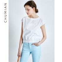 初棉2018夏季新款白色短袖衬衫女纯棉宽松后身V领休闲衬衣