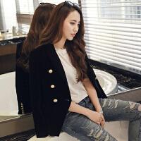 2017新款韩版女装金丝绒小西装修身双排扣上衣丝绒纯色西服外套女