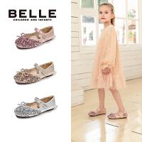 【年��r:136.9元】百��Belle童鞋�和��r尚亮片�涡�2020秋季新品中小童皮鞋�底舞蹈鞋