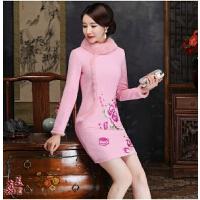 时尚少女长袖旗袍裙加厚冬装2017新款粉色伴娘服中式绣花短款礼服