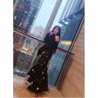 新半身裙2018春新款时尚性感包臀半身裙3D立体蝴蝶不规则鱼尾半裙