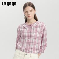 Lagogo2019年秋季新款娃娃领复古九分格子衬衫女小清新ICCC347D11