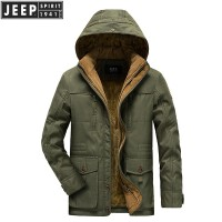 吉普JEEP中长款加绒加厚棉衣男外套0224可脱卸帽男士棉服保暖棉袄