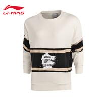 李宁卫衣女士2017新款篮球系列秋季套头衫长袖休闲运动服AWDM318