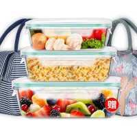 微波炉加热饭盒便当盒玻璃保鲜专用碗带盖保温便当餐盒套装上班族