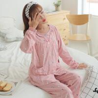 孕妇睡衣秋季纯棉坐月子家居服蕾丝哺乳期加肥加大产后喂奶冬套装