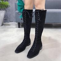 系带长靴绑带女靴子2018秋冬长筒过膝高筒网红皮靴马靴骑士靴