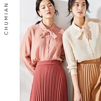 初棉 定制viscose面料法式复古蝴蝶结衬衫女2019春装新款长袖衬衣