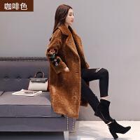 2017冬装新款韩版宽松中长款大衣女冬季女装毛绒刺绣保暖风衣外套