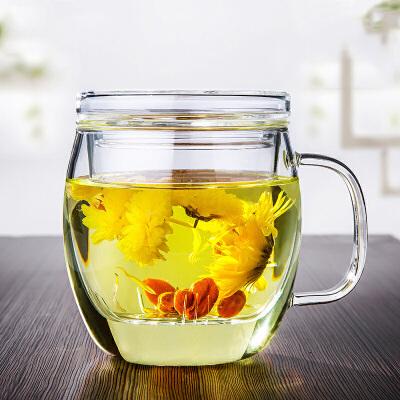 圆润玻璃杯高硼硅三件杯办公室茶杯水杯花茶杯带盖男女士加厚玻璃可装开水