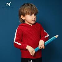 迷你巴拉巴拉男童毛衫2018年冬装新款幼童宝宝连帽套头运动毛衣