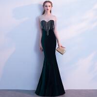 晚礼服2018新款宴会高贵优雅公司年会主持人鱼尾礼服裙长款女显瘦