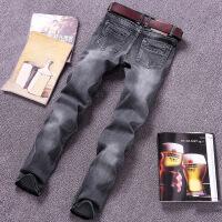 新款直筒牛仔男秋季灰白色牛仔裤男士青年直筒修身复古百搭浅色磨白弹力牛仔裤