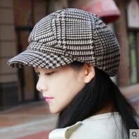 蓓蕾帽显瘦鸭舌帽帽子女户外新款韩版休闲时尚简约千鸟格八角帽女士贝雷帽
