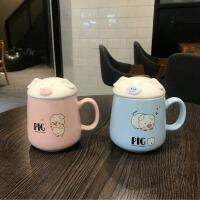 马克杯 猪头盖子大容量杯子陶瓷咖啡带杯盖勺韩版女学生喝水杯家用卡通随手杯子