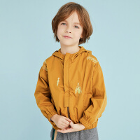 【2件3折价:140.7元】马拉丁童装男童夹克外套春装新款洋气防风领口连帽儿童短外套