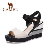 骆驼鱼嘴高跟鞋 时尚休闲夏天女鞋子 魔术贴拼色坡跟凉鞋