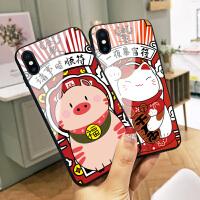 一夜暴富苹果x手机壳iphone7plus小猪本命年xs max新年猪年6网红8p玻璃6S防摔XR新款8潮款男7女情侣