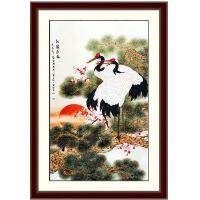 乐陶陶丝带绣 家居装饰 挂画系列 松鹤长春十字绣客厅大幅C-0017
