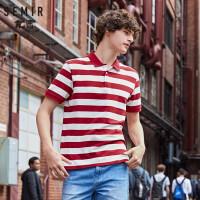 森马男装polo领短袖T恤2019夏季新款韩版条纹海魂衫学生体恤潮
